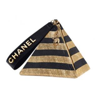 Chanel Pyramid Bag in Metallic Gold & Black Lambskin