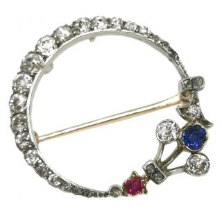 Bespoke diamond, sapphire, ruby crescent moon brooch