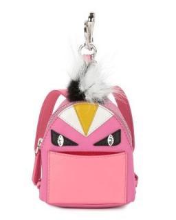 Fendi Pink Bag Bug Fur Trim Charm