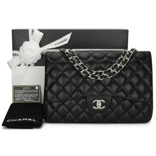 Chanel black quilted lambskin classic single flap jumbo bag