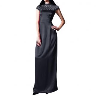 Temperley black satin Mounia gown