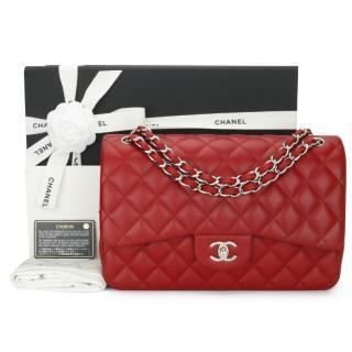 Chanel Red Lambskin Double Flap Jumbo Bag