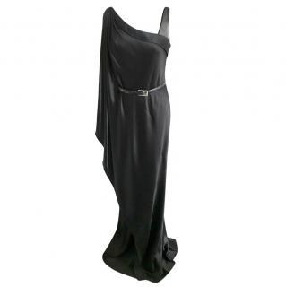 Amanda Wakeley Black Draped Silk Open Shoulder Gown