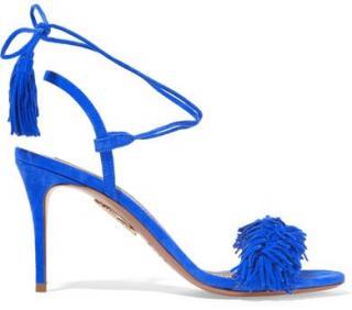 Aquazzura Wild Thing Blue Fringed Suede Sandals