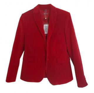 Max Mara Red Fine Velour Jacket