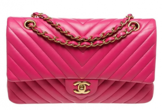 Chanel Pink Chevron Leather Flap Bag