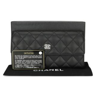 Chanel Quilted Leather Black Flap Wallet