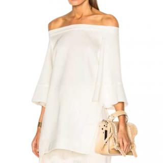 Ellery Cream Crepe Off-Shoulder Top