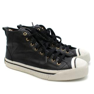 Burberry Black Leather Stitch Detail Hightop Trainers