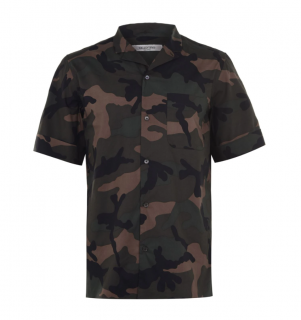 Valentino Men's Camo Print Short Sleeve Shirt