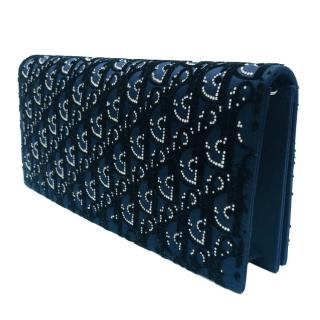 DIOR Navy embellished satin Lady Dior Evening Clutch bag with chain