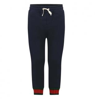 Gucci Navy Blue Joggers with Web Cuffs