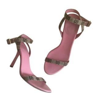 Gucci Pink Leather Monogram Strappy VIntage Sandals