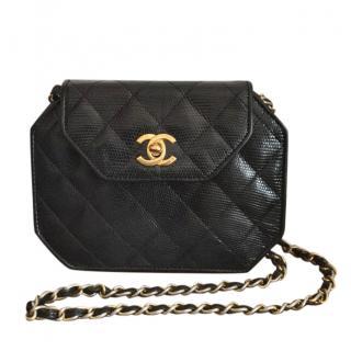 Chanel Black Vintage Lizard Leather Shoulder Bag