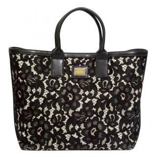 Dolce & Gabbana Black & Cream Lace Alma Tote bag