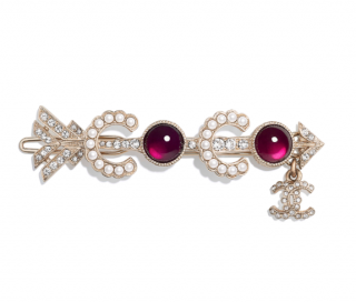 Chanel Red Crystal, Faux Pearl & Gold Tone Metal Hair Clip/Brooch