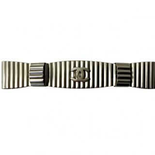 Chanel Silver Tone Bow Hairclip