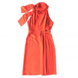 Gucci Coral silk georgette halterneck dress