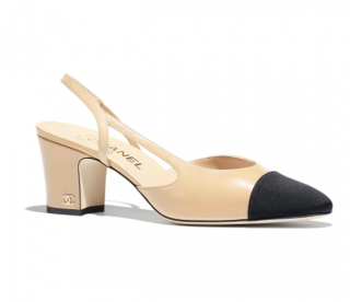 Chanel Goatskin & Grosgrain Beige & Black Slingbacks
