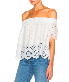 Sea New York Eyelet Detail Off-Shoulder Embroidered Top