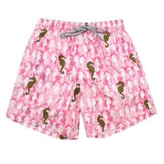 Vilebrequin pink seahorse embroidered swim shorts