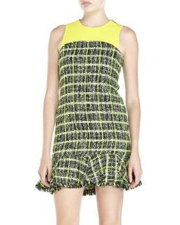 Moschino Cheap & Chic Green & Yellow Tweed Mini Dress