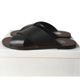 Max Mara Black Leather Crossover Slides