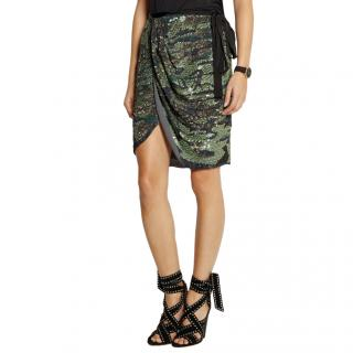 Isabel Marant Green Elmira Sequined Silk-Georgette Mini Wrap Skirt
