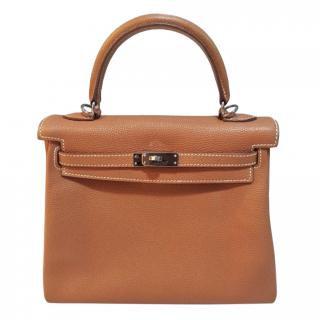 Hermes Clemence Leather Gold Kelly 25 PHW