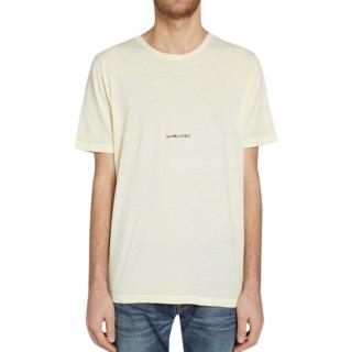 Saint Laurent Archive Logo Tee in Yellow