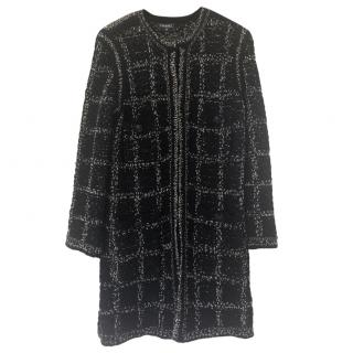 Chanel Black & White Boucle Knit Longline Cardigan