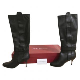 Salvatore Ferragamo Black Leather Heeled Boots