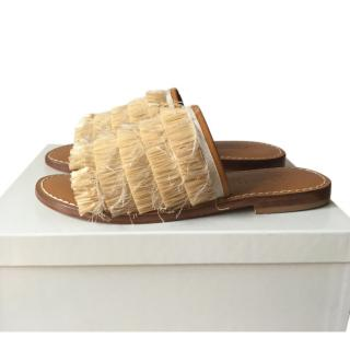 Max Mara Raffia Leather Slides