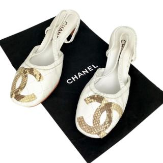 Chanel White Quilted Sandals with Python CC