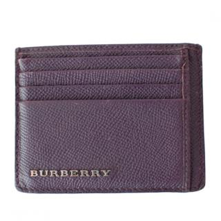 Burberry Purple Grained Leather Card Holder