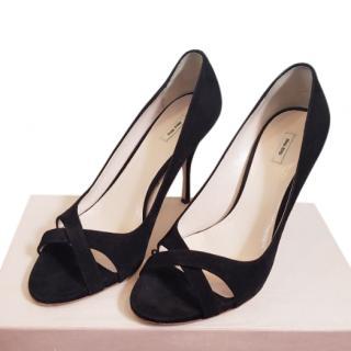 Miu Miu black suede peep toe pumps