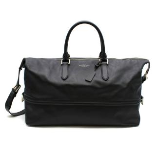 Smythson black leather weekend bag