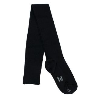 Prada black ribbed cashmere & silk stockings