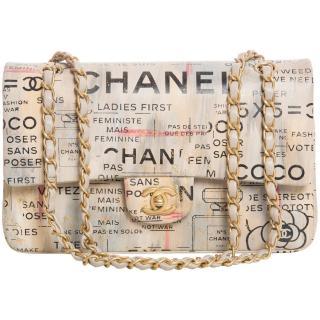 Chanel Beige Newspaper Graffiti Print Double Flap Bag