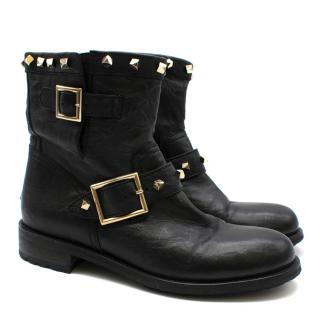 Jimmy Choo black studded youth boots