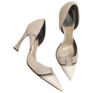 Dior Leather Woven D'orsay Pumps