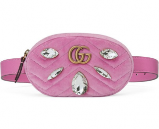Gucci Pink Velvet Crystal Embellished Belt Bag - Size 85