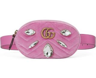 Gucci Pink Velvet Crystal Embellished Belt Bag - Size 85
