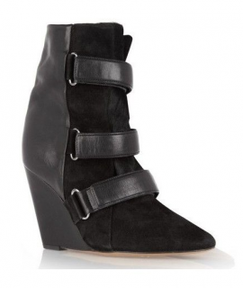 Isabel Marant Black Suede & Pony Hair Scarlet Wedge Boots