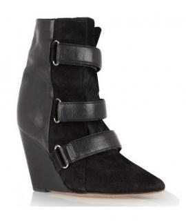 Isabel Marant Black Suede & Pony Hair Scarlet Wedge Boots