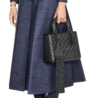 Dior Black Leather Macrame Leather Bag Strap