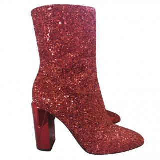 Jimmy Choo Red Glitter Mirrored Heel Ankle Boots