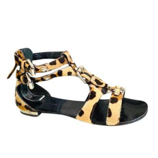Giuseppe Zanotti X Balmain Calf Hair Leopard Print Sandals