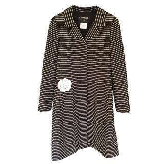 Chanel Black & White Striped Tweed Coat