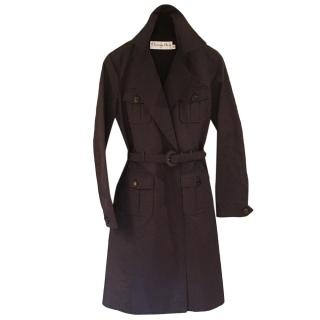 Christian Dior Navy Silk Classic Coat